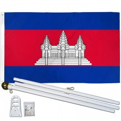 Cambodia 3' x 5' Polyester Flag, Pole and Mount