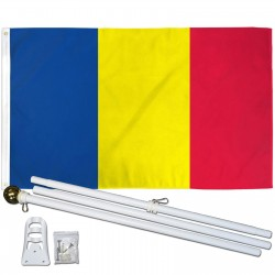 Chad 3' x 5' Polyester Flag, Pole and Mount