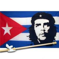CHE GUEVARA CUBA 3' x 5'  Flag, Pole And Mount.