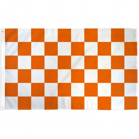Checkered Orange & White 3' x 5' Polyester Flag