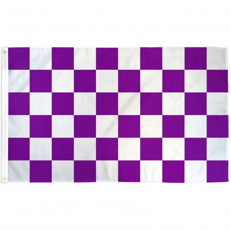 Checkered Purple & White 3' x 5' Polyester Flag