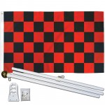 Checkered Black & Red 3' x 5' Polyester Flag, Pole and Mount