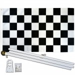 Checkered Black & White 3' x 5' Polyester Flag, Pole and Mount