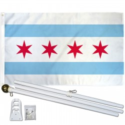 Chicago City 3' x 5' Polyester Flag, Pole and Mount