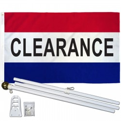 Clearance Patriotic 3' x 5' Polyester Flag, Pole and Mount