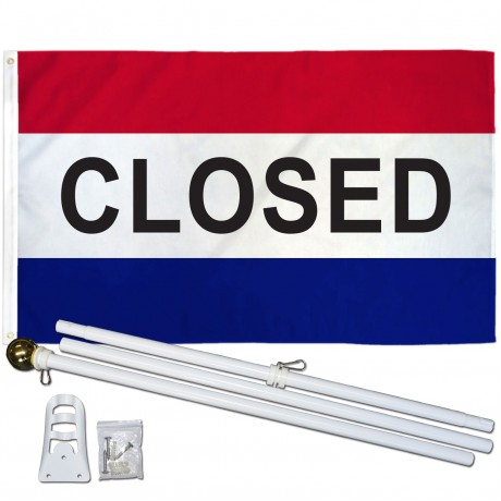 CLOSED 3' x 5'  Flag, Pole And Mount.