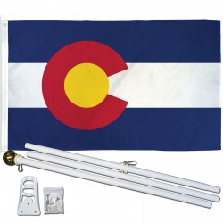 Colorado State 3' x 5' Polyester Flag, Pole and Mount