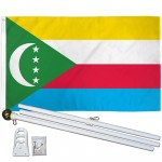 Comoros 3' x 5' Polyester Flag, Pole and Mount