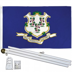 Connecticut State 3' x 5' Polyester Flag, Pole and Mount