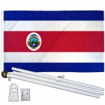 Costa Rica 3' x 5' Polyester Flag, Pole and Mount