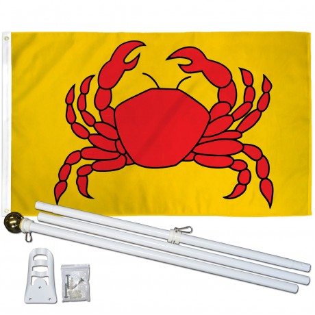 Crab Yellow 3' x 5' Polyester Flag, Pole and Mount