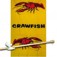 Crawfish Vertical 3' x 5' Polyester Flag, Pole and Mount