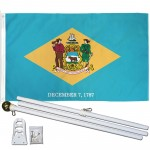 Delaware State 3' x 5' Polyester Flag, Pole and Mount