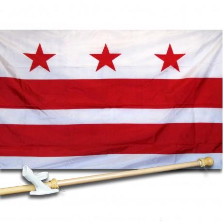 District of Columbia 3' x 5' Ny-Glo Premium Nylon Flag, Pole, and Mount