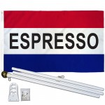 Espresso Patriotic 3' x 5' Polyester Flag, Pole and Mount
