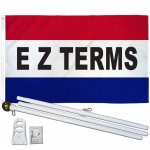 EZ Terms Patriotic 3' x 5' Polyester Flag, Pole and Mount