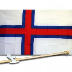 Faroe Island Country 3' x 5'  Flag, Pole And Mount