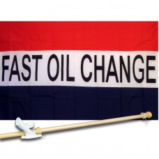 Fast Oil Change Patriotic 3' x 5'  Flag, Pole And Mount
