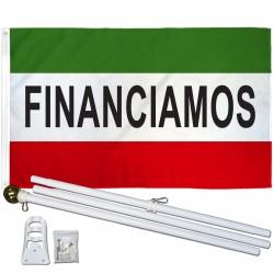 Financiamos 3' x 5' Flag, Pole And Mount