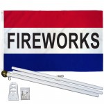 Fireworks Patriotic 3' x 5' Polyester Flag, Pole and Mount