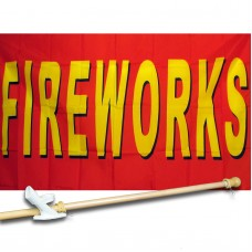 Fireworks Red 3' x 5' Flag, Pole And Mount
