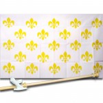 Fleur de Lis White 3 x 5' Historical Flag, Pole And Mount.