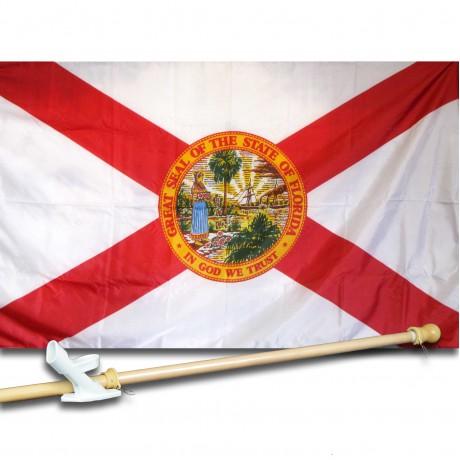 Florida 3'x 5' Solar Max Nylon State Flag, Pole And Mount.