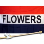 Flowers Patriotic 3' x 5' Flag, Pole and Mount