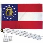 Georgia State 3' x 5' Polyester Flag, Pole and Mount
