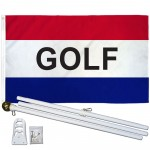 Golf Patriotic 3' x 5' Polyester Flag, Pole and Mount