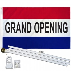 Grand Opening Patriotic 3' x 5' Polyester Flag, Pole and Mount