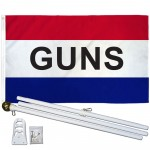 Guns Patriotic 3' x 5' Polyester Flag, Pole and Mount