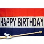 Happy Birthday 3' x 5' Flag, Pole and Mount