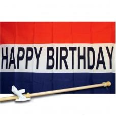 Happy Birthday 3' x 5' Flag, Pole and Mount