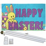 Happy Easter 3' x 5' Polyester Flag, Pole and Mount