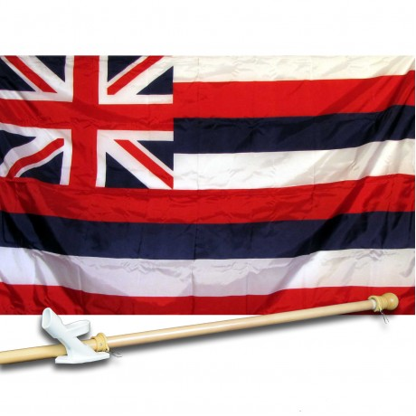 HAWAII 3' x 5'  Flag, Pole And Mount.