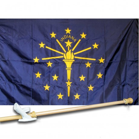 INDIANIA 3' x 5'  Flag, Pole And Mount.