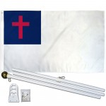 International Christian 3' x 5' Polyester Flag, Pole and Mount
