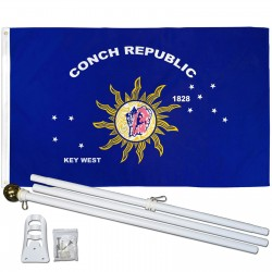 Key West Conch Republic 3' x 5' Polyester Flag, Pole and Mount