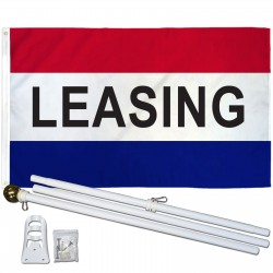 Leasing Patriotic 3' x 5' Polyester Flag, Pole and Mount