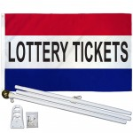 Lottery Tickets Patriotic 3' x 5' Polyester Flag, Pole and Mount