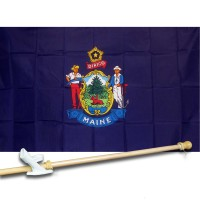 MAINE 3' x 5'  Flag, Pole And Mount.