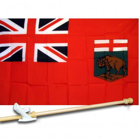 MANITOBA 3' x 5'  Flag, Pole And Mount.