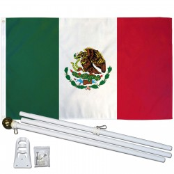 Mexico 3' x 5' Polyester Flag, Pole and Mount