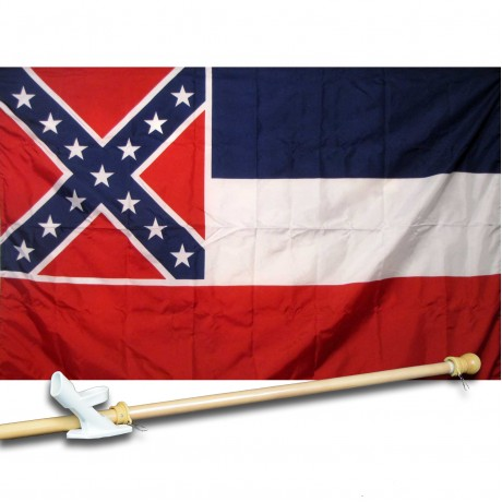 MISSISSIPPI 3' x 5'  Flag, Pole And Mount.