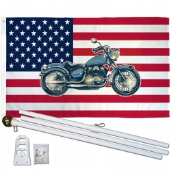 USA Historical Motorcycle 3' x 5' Polyester Flag, Pole and Mount