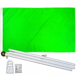 Solid Neon Green 3' x 5' Polyester Flag, Pole and Mount
