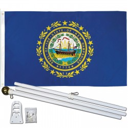 New Hampshire State 3' x 5' Polyester Flag, Pole and Mount