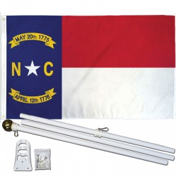 North Carolina State 3' x 5' Polyester Flag, Pole and Mount
