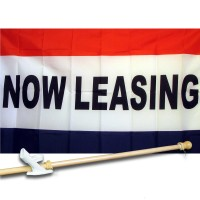 NOW LEASING 3' x 5'  Flag, Pole And Mount.
